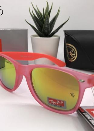 Солнцезащитные очки rayban rb2026 розовые с зеркальными линзами