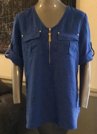 Шикарная льняная рубашка туника размер л 100% лен ellen tracy оригинал