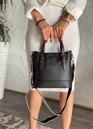 Женская сумка хаки и черная magicbag из эко-кожи