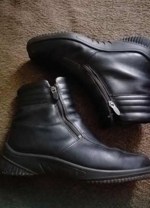 Кожаные ботинки на зиму / зимние полусапожки от ессо
