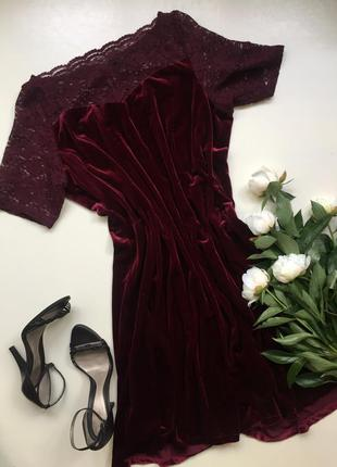 Велюровое платье/ бархатное платье бургунд/ с кружевом / винное / бархат бордо