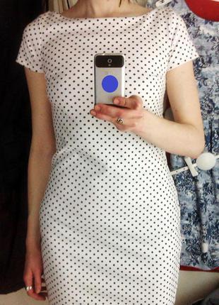 Белое платье мини в горошек oodji