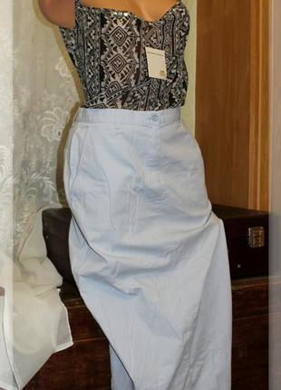 Длинная,прямая юбка,небесного цвета с карманами,р.l
