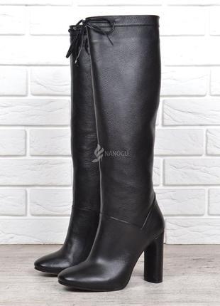 Сапоги женские кожаные на каблуке dacota турция высокие черные