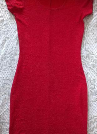 Красное фактурное платье мини new look