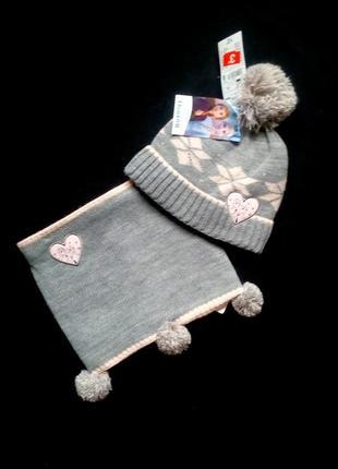 Комплект шапка+шарф-снуд frozen с утеплителем на 2-3 года. новый. франция kiabi