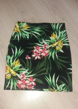 Юбка с цветами мини