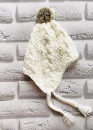 H&m  красивая  зимняя шапка на флисе  на девочку 4-8 лет