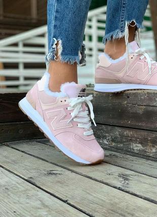 Кроссовки на меху new balance 574, зимние кроссовки, ботинки, женская обувь