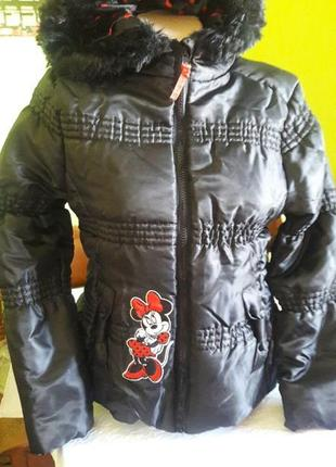 Распродажа куртка зимняя с капюшоном mini mouse теплая,  disney из сша
