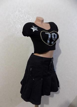 Юбка джинсовая черная расклешенная фирменная esprit размер 44
