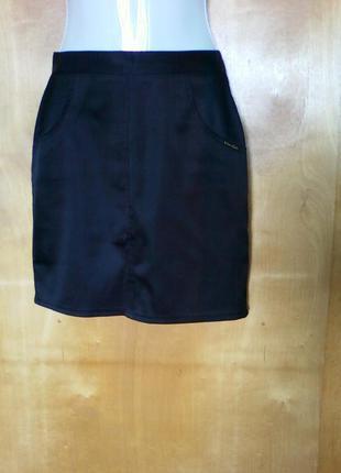 Юбка юбочка спідниця мини прямая черная р 10 или 44-46