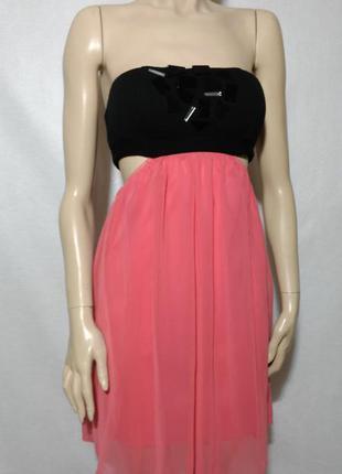 Прикольное платье бюстье кораловое открытые бока