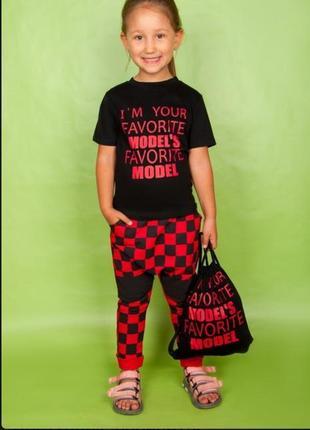 Комплект футболка и штаны с мотней для девочки 2-3