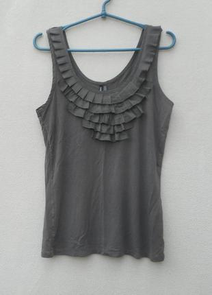 Трикотажная нарядная майка -блузка без рукавов из вискозы