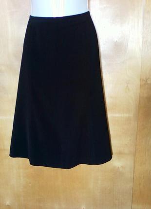 Юбка юбочка спідниця миди трапеция шестиклинка черная классическая р 12 или 48-50