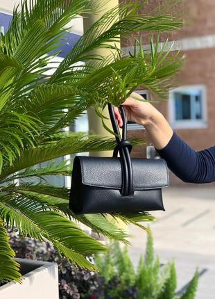 Оригинальная, стильная сумочка клатч кожаная чёрная женская италия