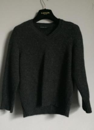 Тёплый свитер sisley темно серый 100% шерсть