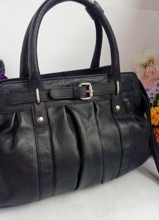 Добротная удобная кожаная сумка, натуральная кожа, темно синяя,