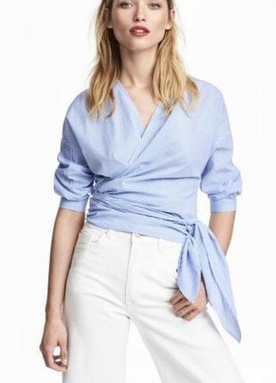 Шикарная блуза / рубашка на запах с бантом от hm свежие коллекции