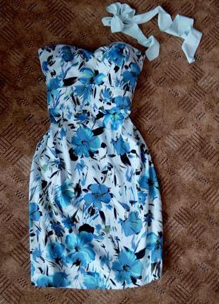 Платье голубое 48 46 размер нарядное бюстье миди принт футляр simply stunning