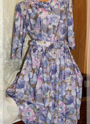 Нежнейшее,винтажное платье с акварельным,цветочным узором,р.xl