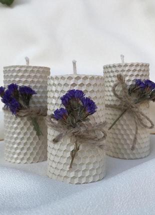 Набор свечей ручной работы из натурального пчелиного воска