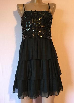 Эффектный сарафан- платье вечернее с паетками праздничный нарядный 34-36
