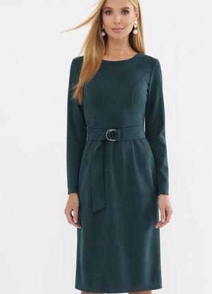Женское замшевое платье миди