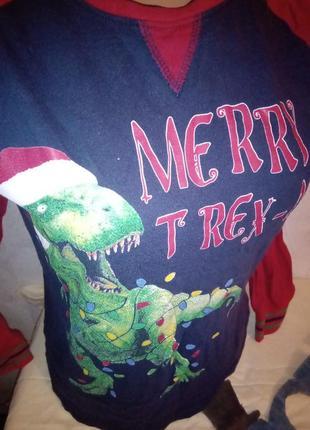 Прикольная кофта с динозавром на новый год и рождество 8-11 лет