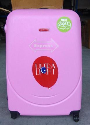 Нежный розовый средний чемодан без предоплат валіза пластикова середня рожева