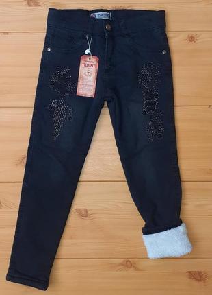 Детские теплые джинсы на травке для девочки рр. 128-134 beebaby (бибеби)