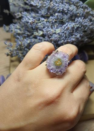 Серебряное кольцо с аметистом 17,5 размер