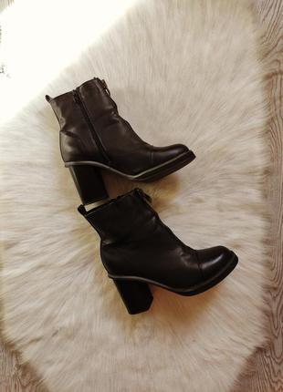 Черные деми кожаные сапоги короткие на устойчивом каблуке с молнией спереди высоком