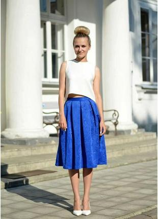 Жаккардовая юбка миди с карманами