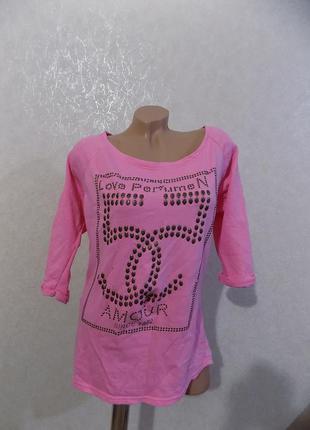 Батник джемпер реглан розовый фирменный ambika размер 48-50