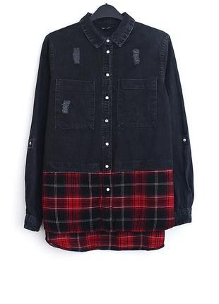 Крутая джинсовая рубашка river island • р-р  м-l