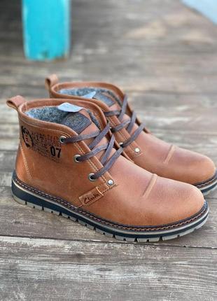 Кожаные ботинки на меху/мужские зимние ботинки