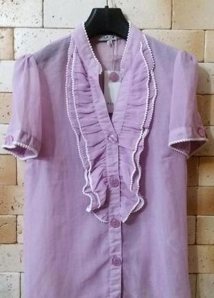 Vila романтическая блуза с рюшами в оттенке lollypop / леденец на палочке :)