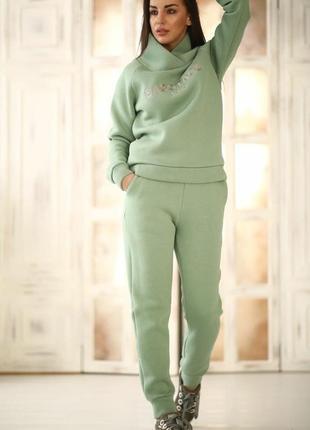 Спортивный костюм женский теплый трикотаж котон флис оливковый