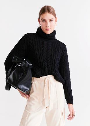 Комбинированный трендовый вязаный гольф/свитер под горло крупной вязки косы/косички.
