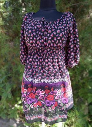 Блуза туника легкая принт маки и цветы debenhams redherring украинский стиль