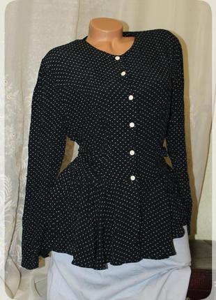 Шикарная,винтажная блуза с баской,птичий принт,р.l