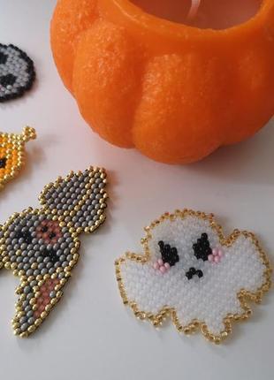 Брошка/значок украшение из бисера хэллоуин 🎃 тыква летучая мышь 🦇 halloween