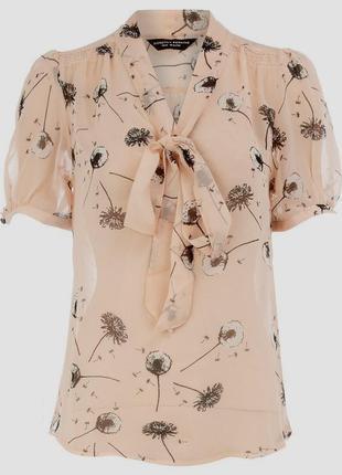 Красивая шифоновая блуза персикового цвета в одуванчики размер (14-18)44-48