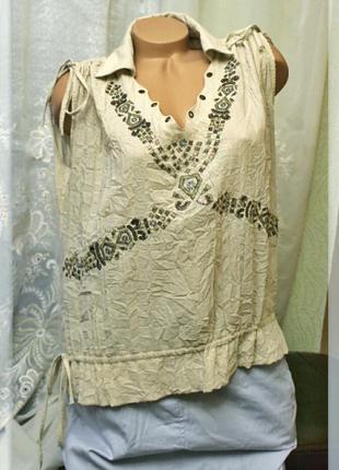 Свободная,винтажная блуза с кулисками на плечах и вышивкой,р.l-xxxl