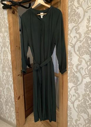 Темно- зелёное длинное платье h&m