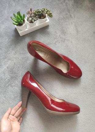 Стильные лаковые кожаные красные бордовые туфли кожа gabor