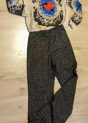 Клевые трикотажные чёрные брюки с серебряным люриксом