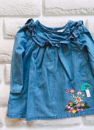 Next стильное джинсовое платье  на девочку  3-6 мес